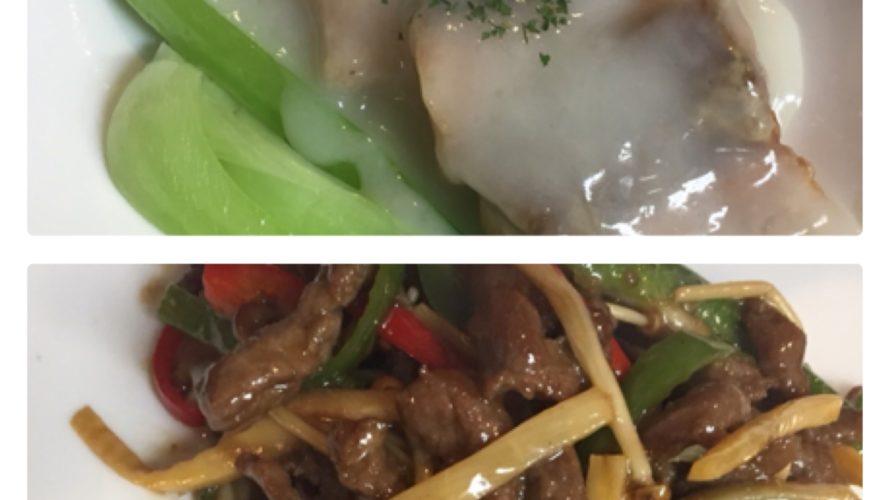 今週のランチセットのご紹介です「秋鮭フィレのクリーム煮」「牛肉とピーマンの細切り炒め」、本日のおすすめ料理もございます!