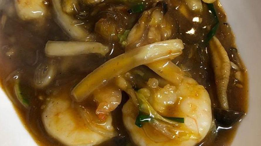 今週のランチセットは「エビと白菜、さつまいも春雨のピリ辛煮込み」「豚肉ときくらげの卵炒め」です!